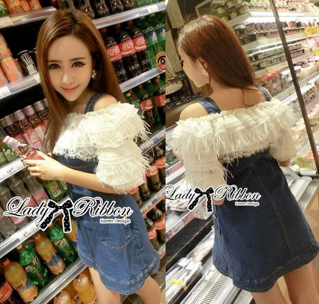 DR-LR-278 Lady Eve Off-Shoulder Ruffle Feather Denim Dress