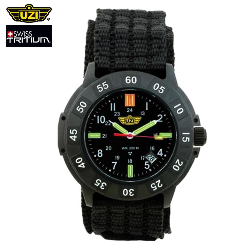 นาฬิกาทหาร UZI Protector Swiss Tritium Black หน้าปัดสีดำ นาฬิกาภาคสนาม สายข้อมือผ้าไนล่อน