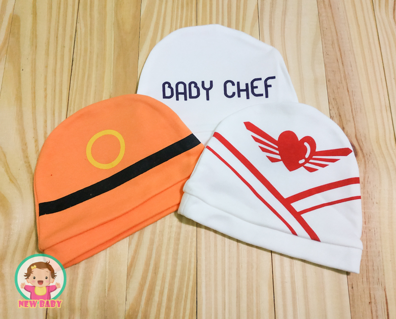 ไซส์ 0-3 เดือน หมวกเด็กพิมพ์ลาย แพ็ค 3 ใบ