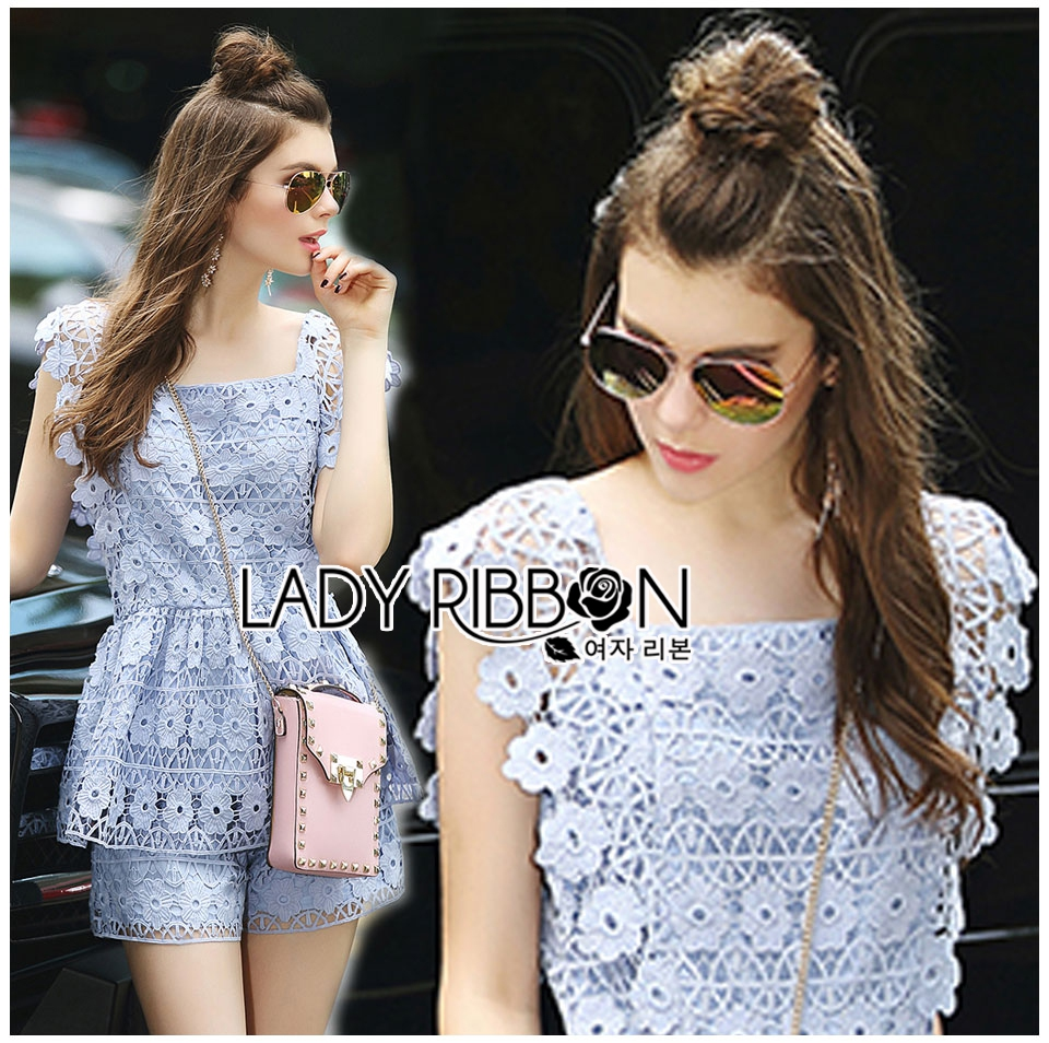 Lady Sophie Sweet Casual Baby Blue Lace Top and Shirts Set L251-89C02