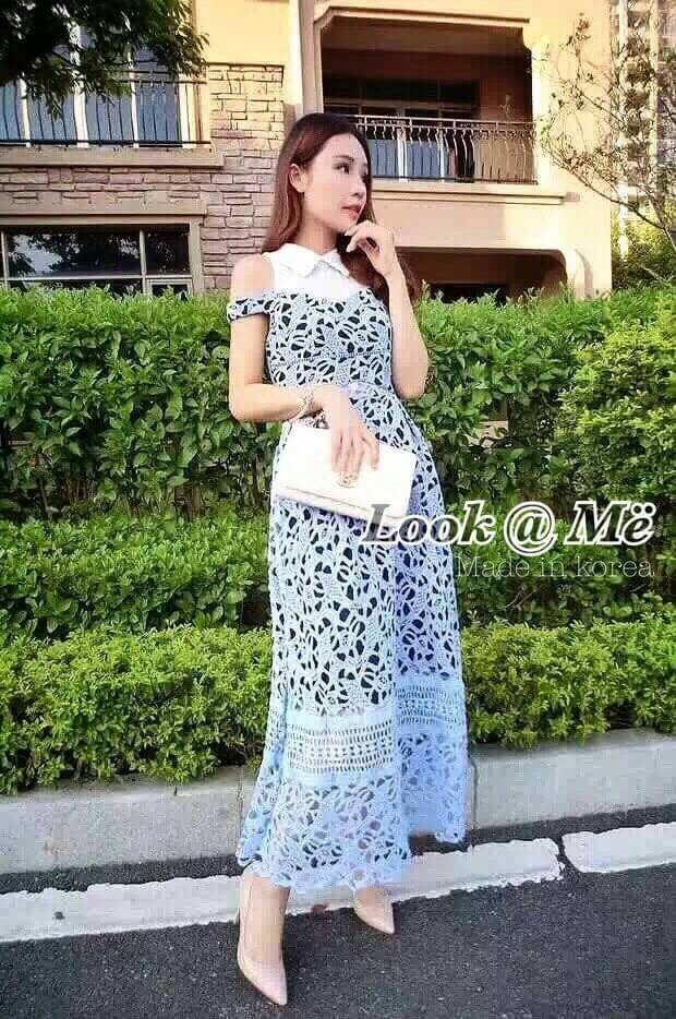 Dress ชุดกระโปรงอัดแน่นด้วยลูกไม้ทั้งชุด คอปกสีขาว