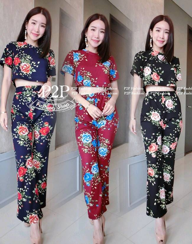ชุดset เสื้อผ้าเนื้อลายดอก + กางเกงขายาวผ้าเนื้อดีลายดอก