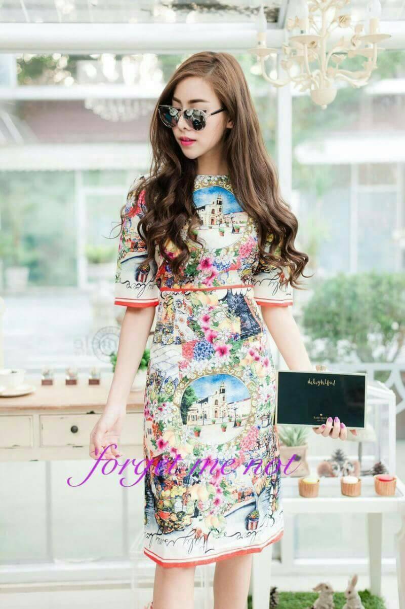 Dress เนื้อผ้าพิมลายดอกไม้ทั้งชุด