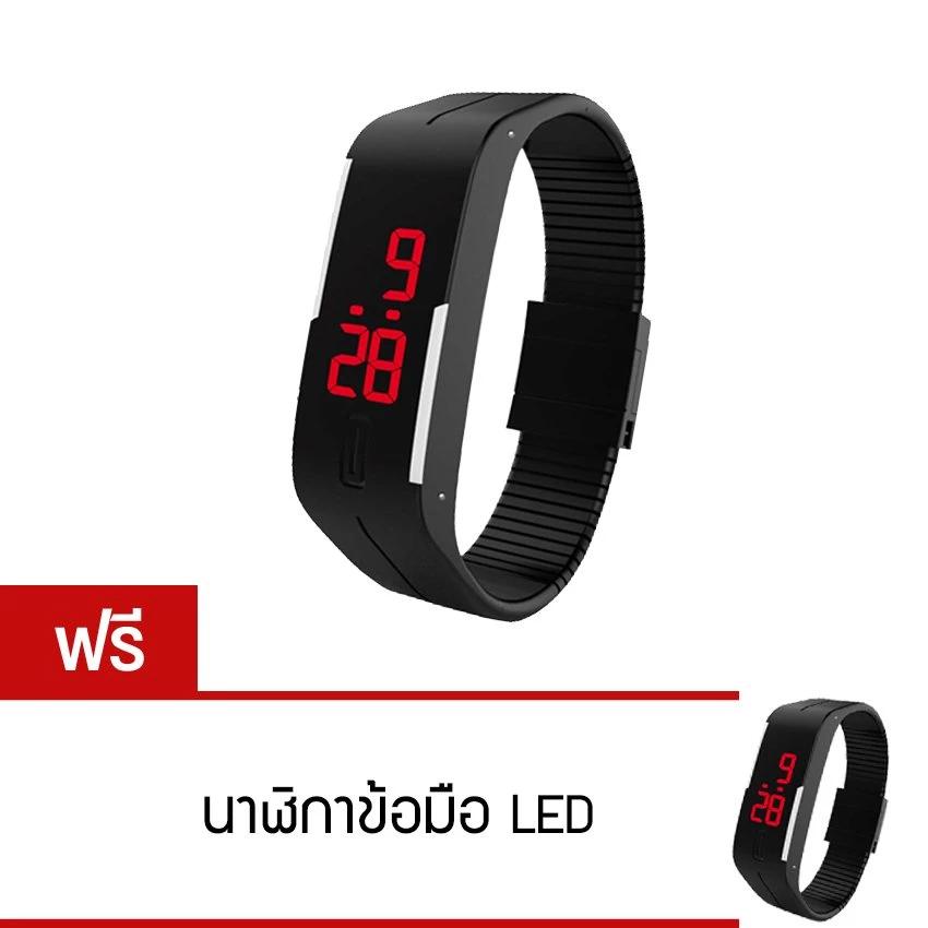 LED Watch นาฬิกาแอลอีดี สายเรซิ่น รุ่น Colorful 02 (สีดำ) ซื้อ 1 ซิ่น แถม 1 ซิ่น 129 บาท