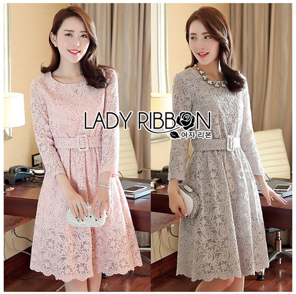 Lady Aliza Classic Vintage Plain Lace Dress with Belt L273-7909