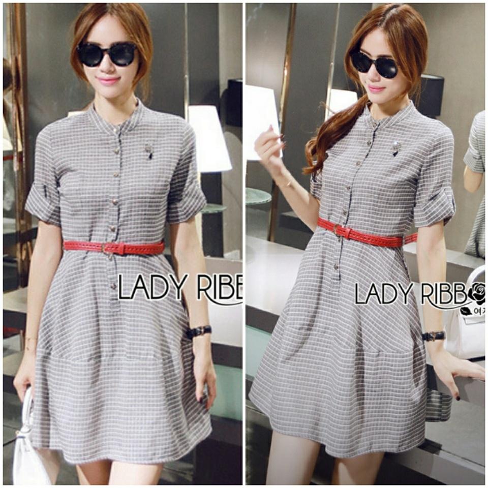 Lady Sara Minimal Asymmetric Grey Dress with Red Belt L250-69C09