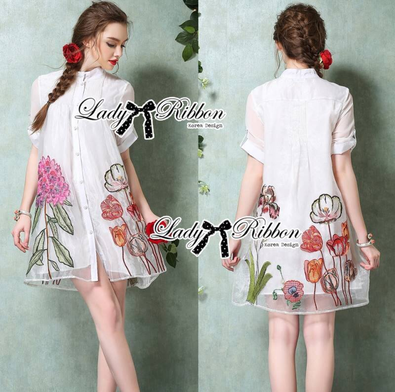 Lady Claire Flower Embroidered Organza and Cotton Shirt Dress L201-75C11