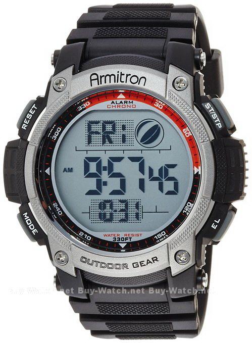 นาฬิกาข้อมือผู้ชาย แนวสปอร์ตของแท้ Armitron Sport 408252BLK Moon Phase ดิจิตอล สายข้อมือยาง