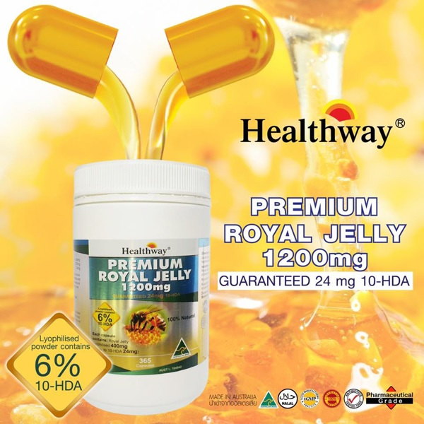 Healthway Premium Royal Jelly 1200 mg (รุ่นโดมใหม่) 365 เม็ดซอฟเจล