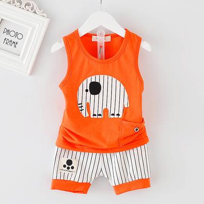 ไซส์ 70 80 90 100 ชุดเสื้อกล้ามเด็กผู้ชาย ผ้าเด้งนิ่มลื่น เหมาะกับหน้าร้อนนี้ - สีส้ม