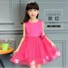 GD021 ชุดเดรสสีชมพูเข้ม ประดับดอกไม้ (เด็กโต) ชุดออกงานเด็กหญิง