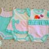 ไซส์ 3-6,6-9 เดือน บอดี้สูทเด็กผู้หญิงสีเขียว น่ารักมากๆ แพ็ค 3 ตัว