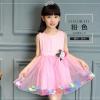 GD020 ชุดเดรสสีชมพูอ่อน ประดับดอกไม้ (เด็กโต) ชุดออกงานเด็กหญิง