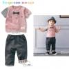 BS004 ชุดเสื้อยืดสีชมพู+กางเกงขายาวพับขอบลายสก็อต ไซส์ 100 / 110