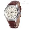 นาฬิกาข้อมือผู้ชายออโตเมติก KS Luxury Automatic Watch 3 sub-dials สายหนัง PU สีน้ำตาล
