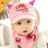 ไซส์ 6-18 เดือน หมวกลูกแมว พร้อมผ้ากันเปื้อนสามเหลี่ยม - สีชมพู