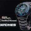 นาฬิกาทหารSmith&Wesson SWISS Quartz Tritium H3 Watch Diver Blue พร้อมสายข้อมือยางและแสตนเลส