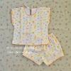 ไซส์ 0-3 เดือน ชุดเสื้อผ้าเด็กผูกหลัง กางเกงขาสั้น ผ้า Cotton นิ่ม