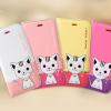 เคส iPhone 6 (4.7 นิ้ว) ลาย Domi Cat 3D ทูโทน ฝาพับปิดหน้า แม่เหล็กล็อคข้าง มีสายคล้องคอ