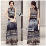 Lady Daria Mysterious Printed Shirt Maxi Dress with Black Lace Corset L247-79C04