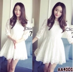 Mini Dress ผ้าลูกไม้ขาว แขน 5 ส่วน ช่วงเอวตัดต่อผ้าเย็บจับ