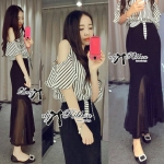DS-PP-050 Lady Lara Minimal Chic Stiped Cut-Out Top and Maxi Skirt Set