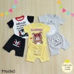 ไซส์ 6-9 9-12 12-18 18-24 เดือน ชุดเสื้อผ้าเด็กเล็ก พร้อมกางเกงขาสั้น ลายหมี แพ็ค 3 ตัว