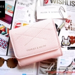 กระเป๋าสตางค์สั้น CHARLES & KEITH STITCHED SQUARE WALLET CK6-10770230 ใหม่ ชนชอป สิงคโปร์ 2017