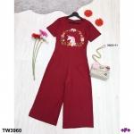 Jumpsuit ขายาว งานผ้าซาร่าอย่างดี ช่วงอก ปักลายม้ายูนิคอน กับดอกไม้