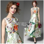 Lady Sara Floral Blossoms Printed and Embroidered SatinMaxi Dress L258-7907