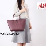 กระเป๋า H&M Leather Tote Bag กระเป๋า สะพายไหล่ หนังเรียบ สีไวน์ หนัง ยี่ห้อ H&M แท้ ชนชอปไทย