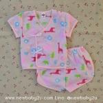 ไซส์ 0-3 เดือน ชุดเสื้อผูกผ้าป่าน กางเกงขาสั้นเด็กอ่อน