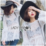 Lady Ashley Sweet Classic Lace Peplum Top in White L261-6909