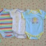 ไซส์ 6-9 เดือน บอดี้สูทเด็ก ลายช้าง สีฟ้าสดใส แพ็ค 3 ตัว