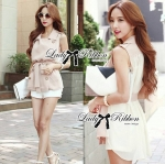 DS-PP-026 Lady Stella Vintage Glam Sleeveless Trench Set