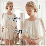 DS-PP-019 Lady Beatrice Pretty Sweet Layered Chiffon Lace Jumpsuit