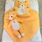 ที่นอนเด็ก เนื้อผ้าขนหนู สีส้ม