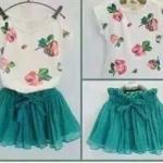 ชุด Set เสื้อสีขาวลายดอกไม้+กระโปรงฟู ไซส์ 120