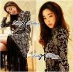 Lady Monica Sexy Elegant Print Lace Shirt Dress L133-75C09