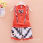 ไซส์ 90 ชุดเสื้อกล้ามเด็ก Summer กางเกงขาสั้น - สีส้ม