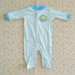 ไซส์ 6-9 เดือน ชุดหมีเด็กคลุมเท้าแขนยาว สีฟ้า ลายสิงโต
