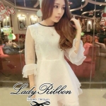 DR-LR-031 DLady Pure White Organza Mini dress