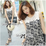 DS-PP-035 Lady Margaret Casual Chic Graphic Print Lace Jumpsuit