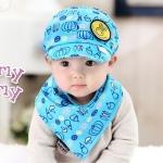 ไซส์ 3-24 เดือน หมวกเด็กเบสบอล พร้อมผ้ากันเปื้อน - สีฟ้า
