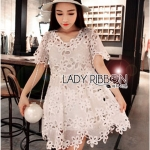 Lady Monique Sweet Feminine Flower Guipure Lace Dress