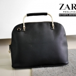 Zara Handbag with Metal Handle กระเป๋าถือ ทรงตั้งสง่า หนัง Saffiano สวย ยี่ห้อ Zara แท้ City Bag