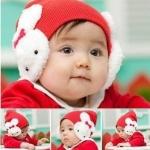 หมวกเด็กไหมพรมผู้หญิง ลายกระต่ายสีขาว สีชมพูเข้ม สีแดง สีชมพูอ่อน