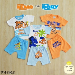 ไซส์ 6-9 9-12 12-18 18-24 เดือน ชุดเสื้อผ้าเด็กเล็ก พร้อมกางเกงขาสั้น ลายนีโม่ แพ็ค 3 ตัว
