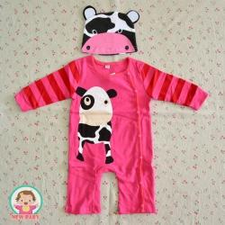 ไซส์ 80 ชุดหมีเด็กผ้านิ่ม มีหมวก ลายลูกวัว -สีชมพู