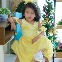 Star Princess Dress ชุดเดรสเด็กสีเหลือง